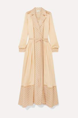 BEIGE Arjé ARJE - Ami Embroidered Tulle-trimmed Striped Silk-poplin Dress