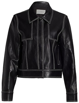 LVIR Pleasant Utility Faux Leather Slim Short Jacket