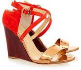 Eugenia Kim Bruna Copper and Red Suede Mahogany Wood Wedge Sandal