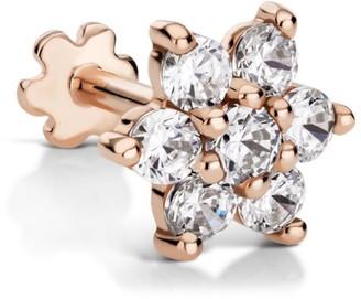 Maria Tash 7Mm Rose Gold And Diamond Flower Threaded Earring