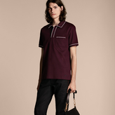 Burberry Piped Cotton Piqué Polo Shirt , Size: M, Red