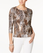 Charter Club Petite Cotton Animal-Print Top, Created for Macy's