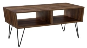 Walker Edison 42 inch Angled Coffee Table with Hairpin Legs in Dark Walnut