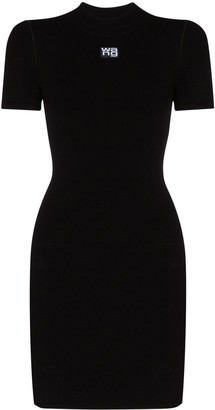 Alexander Wang Logo-Print Fitted Mini Dress