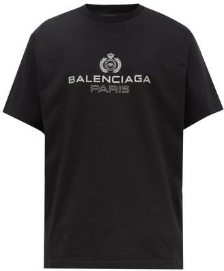 Balenciaga Logo Crest Cotton T Shirt - Mens - Black