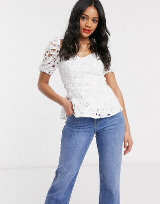 Lipsy lace puff sleeve peplum top with sweetheart neckline in white