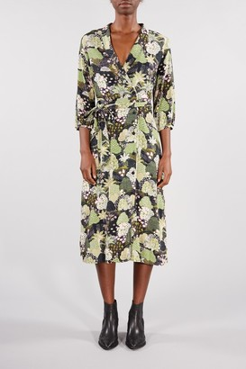 Selected BOTANICAL GREEN MARINA MIDI DRESS - 36