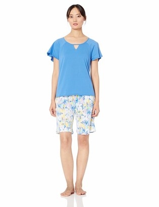 Karen Neuburger Women's Plus Size Short Sleeve Top and Bermuda PJ Set with Wicking Technology