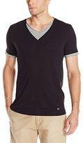 HUGO BOSS BOSS Orange Men's Tulis Slim Fit V-Neck T-Shirt with Double Layer Trim