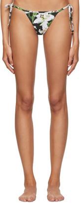 Dolce & Gabbana Black Lilium String Bikini Bottom