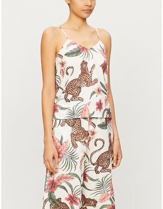Desmond & Dempsey Soleia jungle-print cotton pyjama top