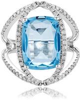 Effy Jewelry Effy Ocean Bleu 14K White Gold Blue Topaz and Diamond Ring, 9.63 TCW