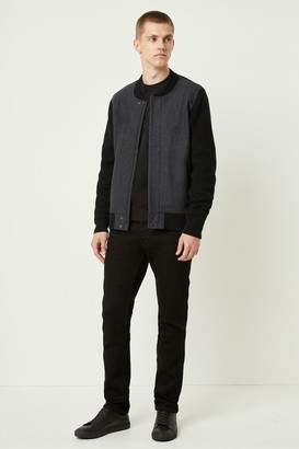 French Connection Melton Knit Hybrid Bomber