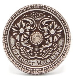 Alexander McQueen Floral-embossed Medallion Ring - Silver