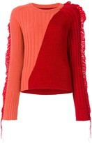 Maison Margiela bicolour fringed rib knit sweater