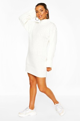 boohoo Petite Oversized Rib Knit Sweater Dress