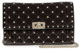 Valentino Rockstud Small Quilted Velvet Wallet-on-Chain, Black