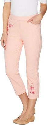 Belle By Kim Gravel Flexibelle Embroidered Crop Jeans
