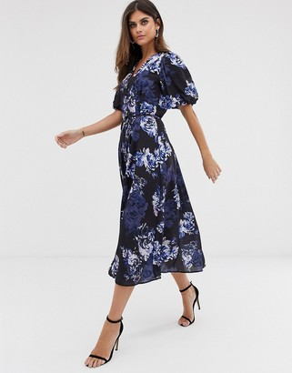 French Connection long button down floral maxi dress-Blue