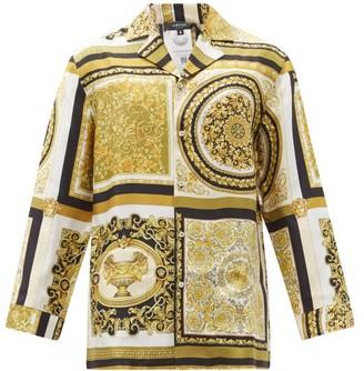 Versace Baroque-print Silk-satin Pyjama Shirt - Gold Multi