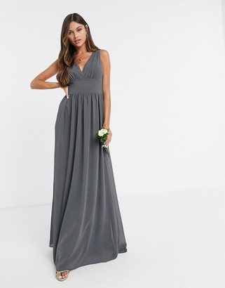 TFNC Bridesmaid top wrap chiffon dress in grey