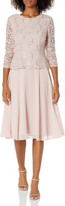 Alex Evenings Women's Tea Length Sequin Mock Dress Petite and Regular Size