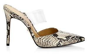 Schutz Women's Sionne PVC & Snakeskin-Embossed Leather Mules