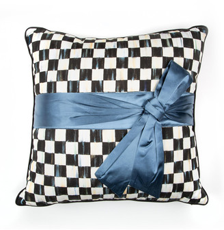 Mackenzie Childs Courtly Check Sash Pillow Teal