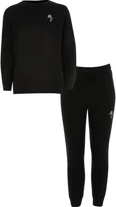 River Island Boys black Maison Riviera sweatshirt outfit