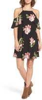 Lush Women's Floral Print Cold Shoulder Shift Dress