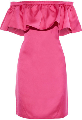 ZAC Zac Posen Crystal Off-the-shoulder Ruffled Duchesse-satin Mini Dress
