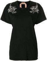 No.21 embroidered shoulder T-shirt