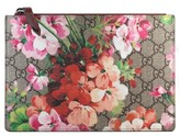Gucci Small Gg Blooms Canvas & Leather Pouch - Beige