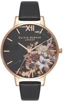 Olivia Burton **marble floral black and rose gold watch
