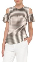 Akris Punto Stripe Silk Cold Shoulder Blouse