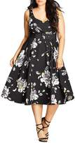 City Chic Floral Sketch Dress