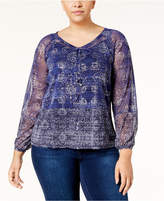 INC International Concepts Plus Size Printed Lace-Up Top, Created for Macy's