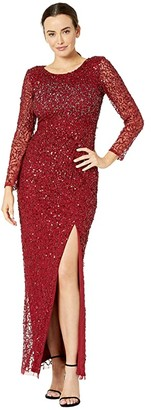 Adrianna Papell Beaded Covered Column Gown (Cranberry) Women's Dress