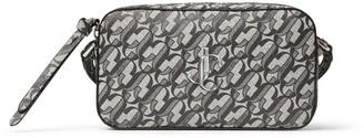 Jimmy Choo HALE Silver JC Monogram Print Glitter Leather Cross-Body Bag
