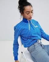 Ellesse Italia Oversized Sweatshirt In Stripe Crinkle Nylon With Ring Pull Zip