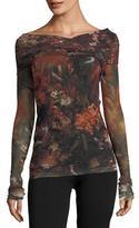 Fuzzi Long-Sleeve Winter Rust Floral Tulle Surplice Top