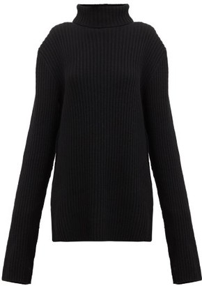 Ann Demeulemeester Extra Long-sleeve Roll-neck Ribbed-wool Sweater - Black