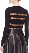 Jason Wu Lace-Striped Long-Sleeve Top, Black