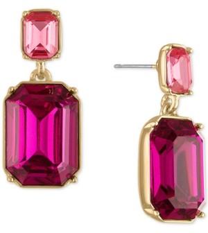 Rachel Roy Gold-Tone Pink Stone Double Drop Earrings