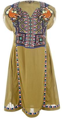 Biba Embroidered Neon Dress