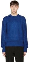 Saint Laurent Blue Mohair Crewneck Sweater