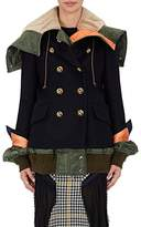 Sacai WOMEN'S WOOL MELTON PEACOAT & COTTON-BLEND BOMBER JACKET COMBO