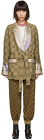 Gucci Beige and Purple Silk and Linen Floral GG Jacket