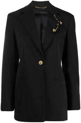 Versace safety pin detail blazer