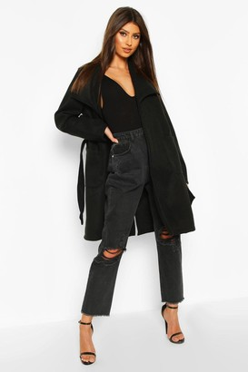 boohoo Wide Collar Belted Wool Look Coat